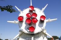 The rear of a Saturn 1B rocket in the Rocket Garden