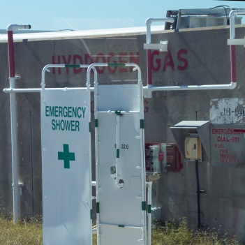 Decontamination shower near the launch complex