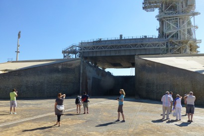 Milling around in front of the flame trench