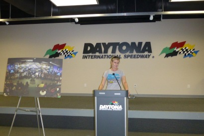 Making an important announcement in the Drivers' Briefing Room
