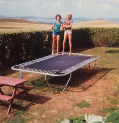Me and a cousin in the early '80s, the lighthouse and trig faintly visible in the background...