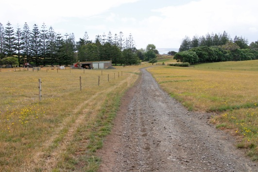 The road continues for a few hundred metres to the farm owner's house at the end