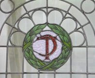 Leadlight windows at the Chateau