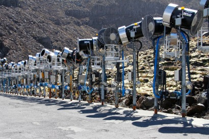 The snowguns patiently and quietly wait for winter