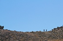 Teeny tiny punters up on the ridge by Mead's Wall