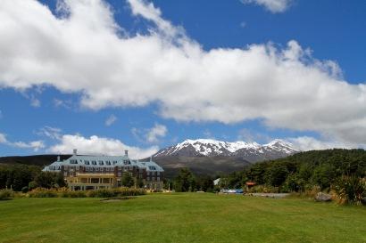 Chateau Tongariro and its superb backdrop
