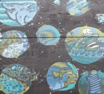 A section of the James Smith carpark mural, designed to reflect the history of Lukes Lane