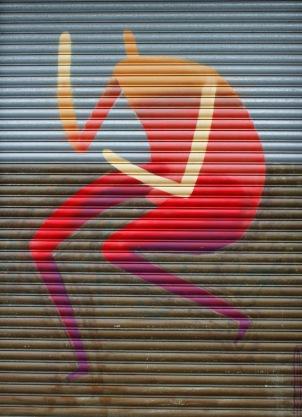 Street art by Drypnz / garage door on Tennyson St / 2013