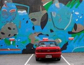 Mural by Jumbo, Blok, Pntr, Drypnz / Tennyson St / 2012