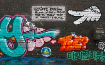 Street art on a fairly derelict earthquake-condemned building in Tennyson Street. Maybe because of this the artwork includes a Civil Defense logo and the words 'Get Ready'