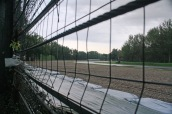 Looking out from the wall at Tamburello corner where Senna crashed
