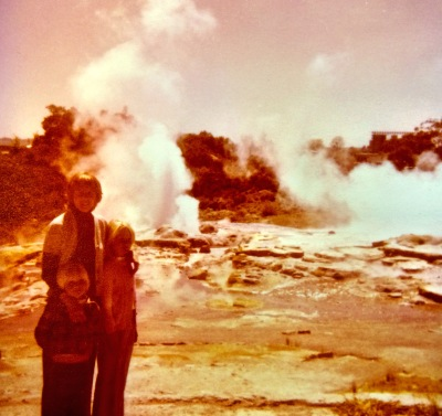 Geyser-watching with my mother and brother, oh, quite a while ago