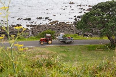 Waihau Bay tractor towing boat