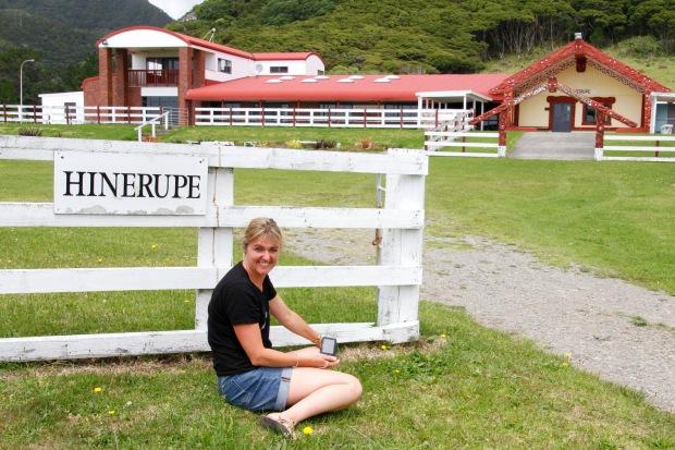 Next to the church is Hinerupe Marae; foreground decoration is my cousin Nicki.