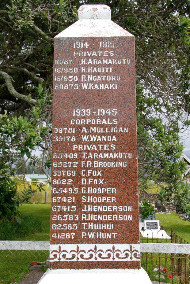 A war memorial sits in the marae grounds. Dad was named after three uncles who served in WW2. Two didn't come home and appear on the memorial (Hooper). One day I hope to visit them in the El Alamein War Cemetery.