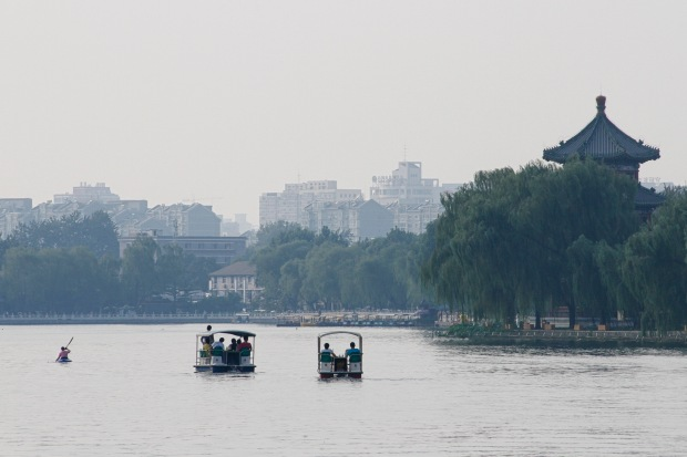 Pedal and paddle craft on Houhai Lake