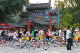 A herd of tourists on bikes
