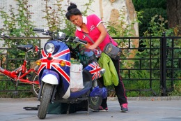 Union Jack scooter at home in Beijing