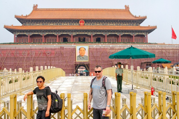 To get to the Forbidden City you first go through the Tiananmen Gate (aka Gate of Heavenly Peace) featuring Mao portrait and, at the time of our visit, majestic scaffolding.