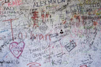 Inside a wee building on the wall were surfaces for people to write on, to try and prevent graffiti on the wall itself