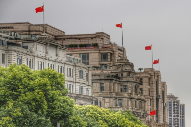 flags, the bund, shanghai