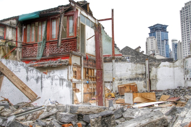 Destruction of Shanghai old neighbourhood