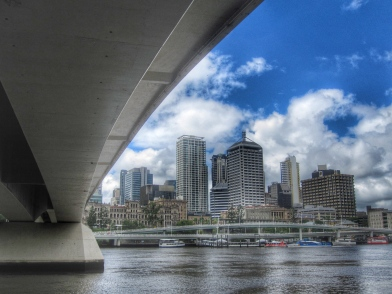 Downtown Brisbane from under the Victoria Bridge