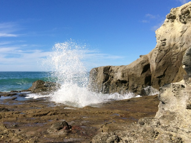 There's a great area for exploring rock pools and watching the waves explode upwards