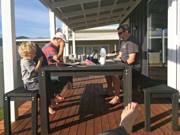 One of life's simple pleasures - holiday morning routines on a deck in the sunshine