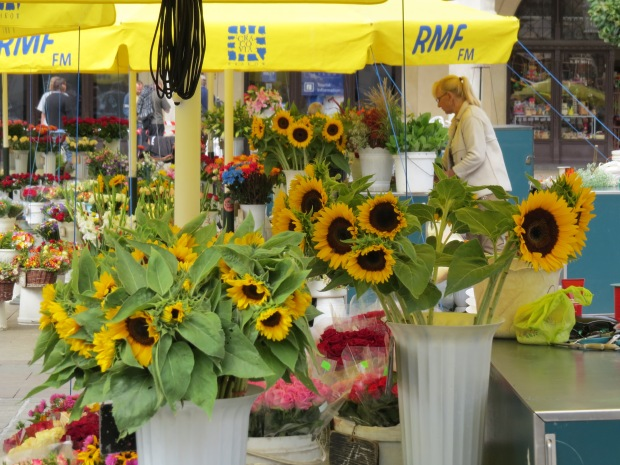 One strip of the square is ablaze with yellow with multiple stalls identical to this
