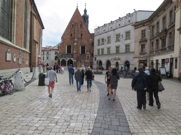 From alongside St Mary's, Mariacki Square runs back to St Barbara's where there used to be a cemetery a couple hundred years ago