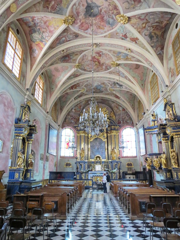 The absolutely beautiful Baroque interior of St Barbara's. I've now been into several Polish churches and find it astounding how extraordinarily decorated these places of worship are