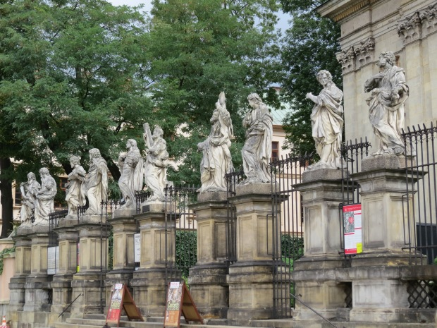 Sculptures of the apostles in front of Saints Peter and Paul Church