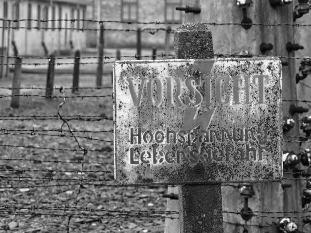 Auschwitz high voltage warning