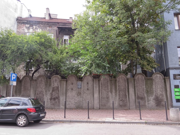 During the Nazi occupation, about 15,000 Jews were confined to several blocks of Podgórze around which a wall was constructed. This small section of wall remains