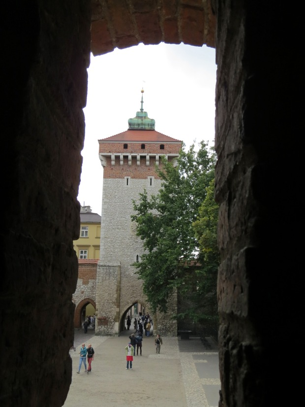 Florian Gate from the Barbican. They used to be joined by a covered passageway and hence incorporated into the city wall around the Old Town