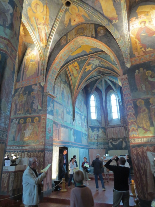 Chapel of the Holy Trinity - glad I did see it in the end; this small 14th century chapel is covered in painted biblical scenes which were plastered over (!) before being rediscovered at the end of the 19th century and then restored over the next century (!)