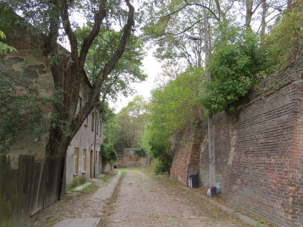 A lane which borders the Old Jewish Cemetery (wall at the right). Back around that corner I almost stood on a homeless drunk man sleeping against a power pole. Being a quiet lane it gave me quite the start
