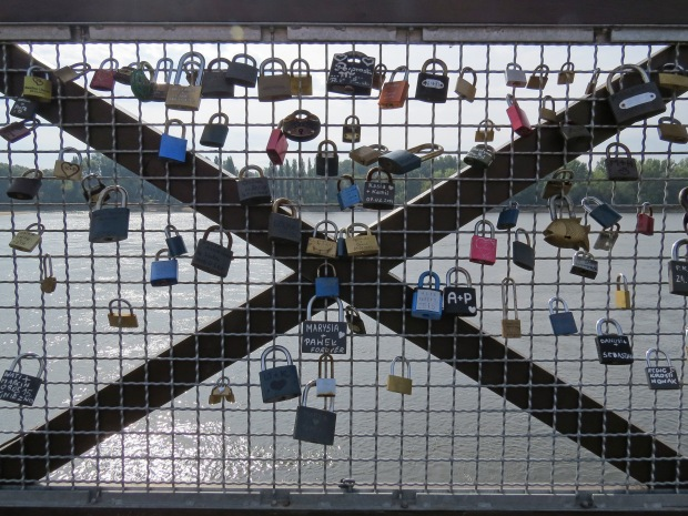 Love locks on the memorial platform to Torun's first bridge built around 1500