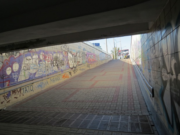 Kyiv has a lot of underpasses for its main roads. They're poorly lit and covered in graffiti. Still, they were safer than some crossings where cars were still going through on the green pedestrian light