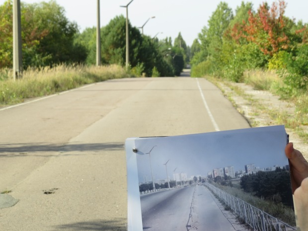 Road into Pripyat with 'before' photo