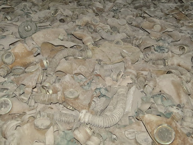 Gas masks cover a very large part of the floor but they were placed there after the fact and never actually used