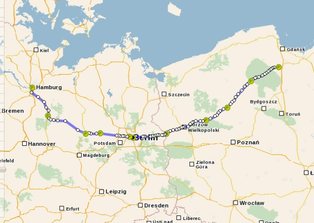 Where I arguably should have gone (but look at all those stops!). This would've taken me on what was most probably the route my ancestors took to Berlin, though wouldn't have replicated what seems to have been the original Berlin-Hamburg line