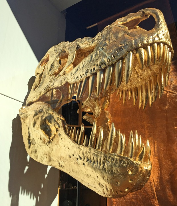 Just for something different, a gold t-rex head