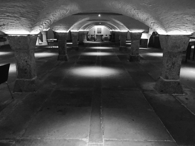Downstairs is the crypt where well over 2000 people are interred and which was used as a shelter during WW2
