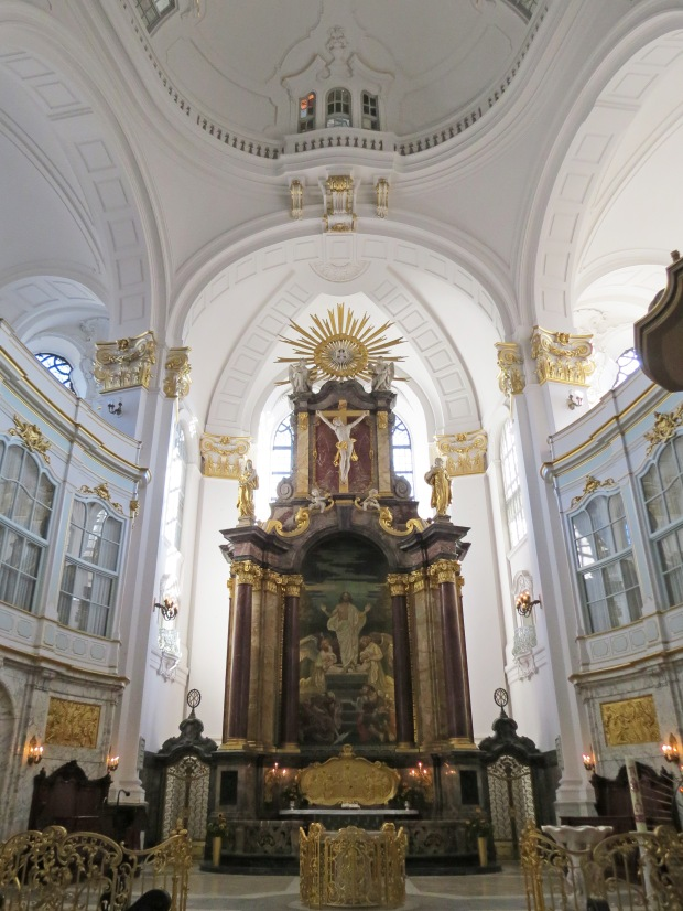 The interior is stunning white and gold baroque
