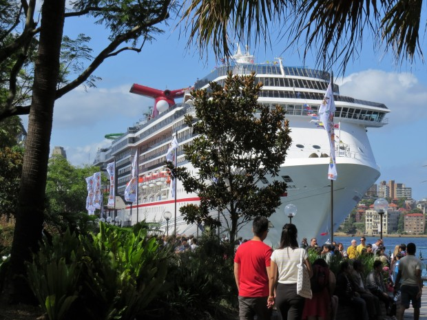 A cruise ship dominated the waterfront in Circular Quay