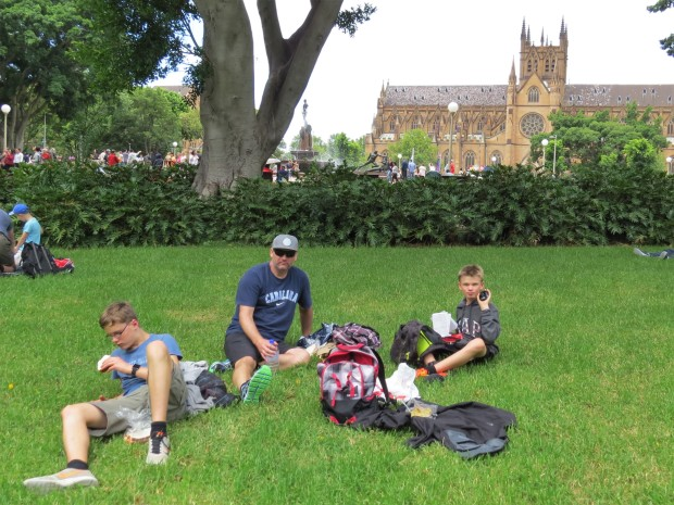 Picnic lunch in Hyde Park with cathedral backdrop. I took Mike to the doctor during the week which confirmed the diagnosis of sciatica - and yielded some lightweight mostly useless painkillers