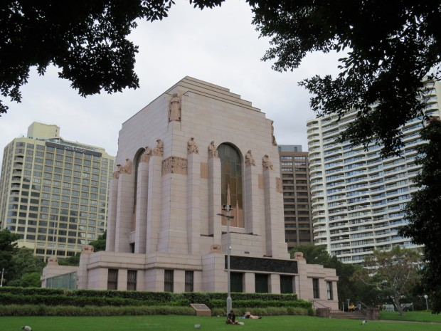 The large and somber ANZAC Memorial in Hyde Park