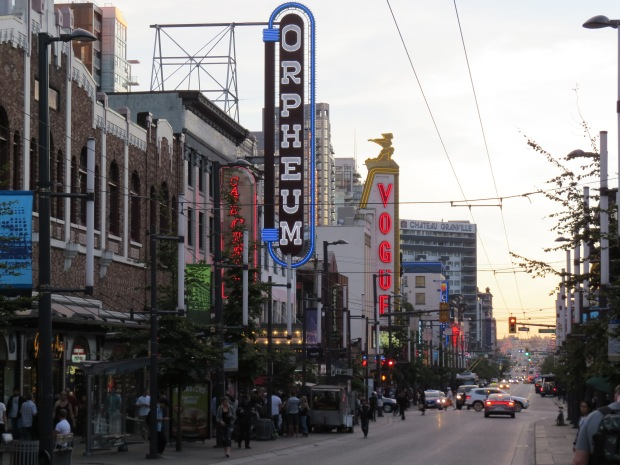 Granville Street entertainment district had a gritty feel, not helped by closed-down premises attracting throngs of homeless out front (big homeless problem here from what we saw), but the striking neon signs are from a couple of remaining historic theatre venues.